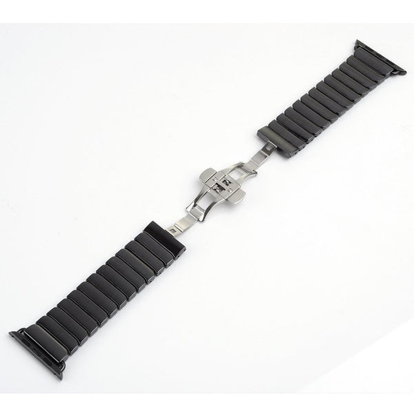 Ceramic link watch band with butterfly buckle clasp - Multiple colors - WatchBand Co