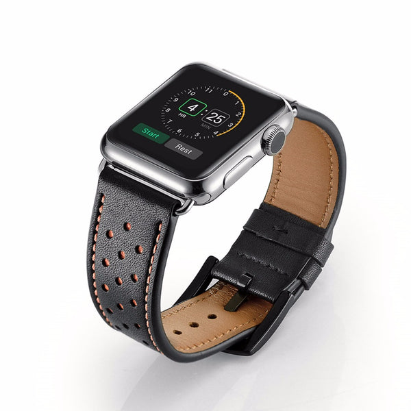 Perforated Genuine Leather Apple Watch Band - WatchBand Co