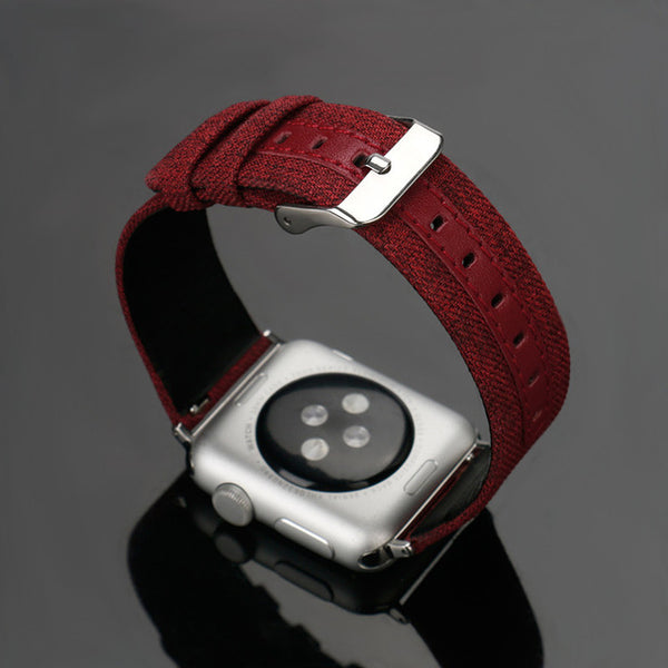 Leather + Canvas strap with classic metal buckle - WatchBand Co