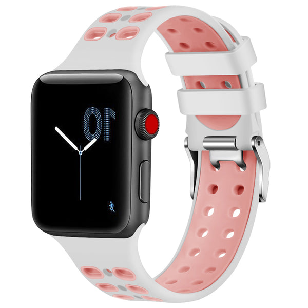Sport Silicone Perforated Apple Watch Band with a steel buckle - WatchBand Co