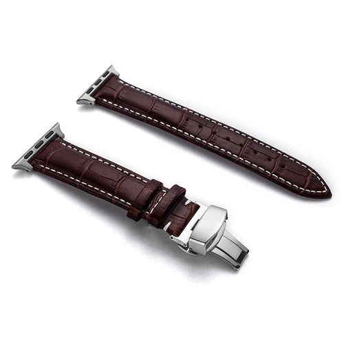 Leather Apple Watch Strap with butterfly buckle - Multiple colors - WatchBand Co