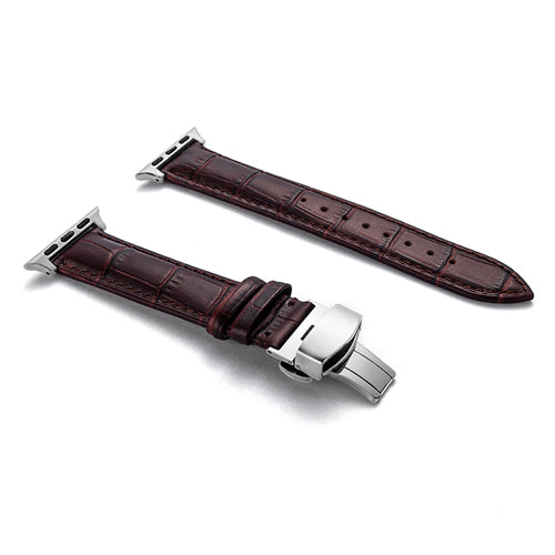 Leather strap with beautiful texture and butterfly buckle - Multiple colors