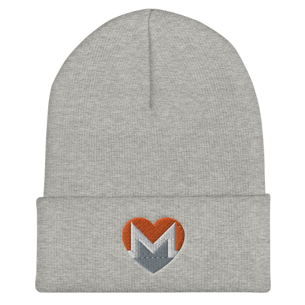 XMR | Monero Love Heart Cuffed Beanie