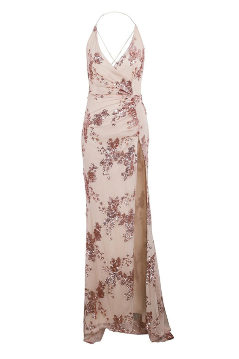 Sexy Lace-Up Halter Sequin High Split Maxi Long Evening Dress