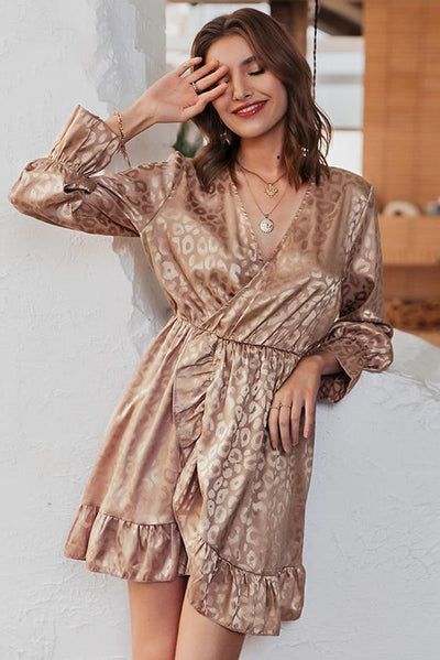 Sexy V-Neck Leopard Print Summer Long Sleeve Ladies Office Midi Dress