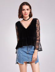 Alisapan Long Sleeve Lace and Velvet Top AS01132