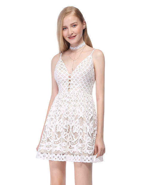 Alisapan Women's Simple Fashion Sleeveless Lace Short Casual Dress AS05615