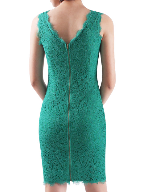 Alisapan  Women's Slim Round Neck Sleeveless Bodycon Short Lace Casual Dress AS13032