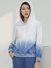Color=Blue & White | Fashion Tie-Dye Hoodies For Women With Long Sleeve-Blue & White 1