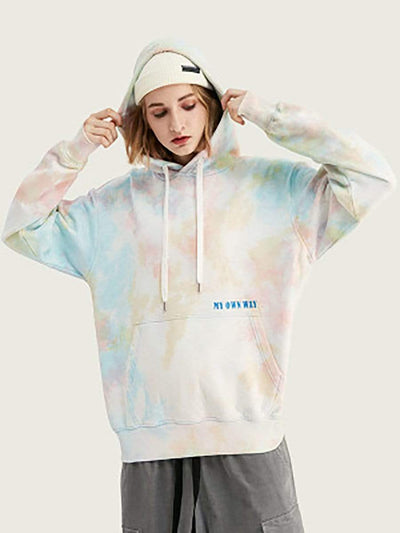 Color=White | Causal Printed Tie-Dye Tops Hoodies With A Pocket-White 1