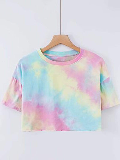 Color=Tie-dye Pink-blue  | Women'S Sexy Open-Navel T-Shirt With Short Sleeves-Tie-Dye Pink-Blue  1