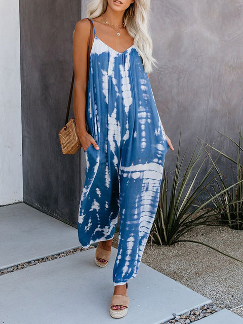 Color=Sky Blue | Sexy Round Neck Loose Tie-Dye Loungewear Onesies-Sky Blue 3
