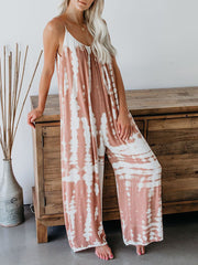 Color=Pink | Sexy Round Neck Loose Tie-Dye Loungewear Onesies-Pink 2