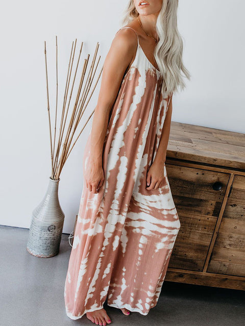 Color=Pink | Sexy Round Neck Loose Tie-Dye Loungewear Onesies-Pink 3