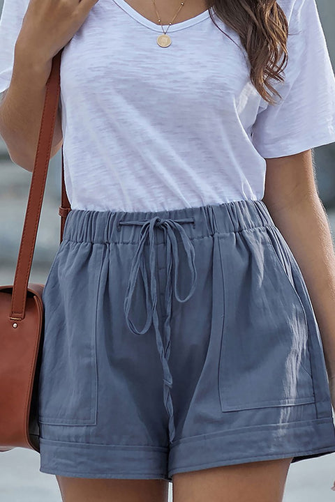 Casual Comfy Drawstring Elastic Waist Pocketed Shorts for Women