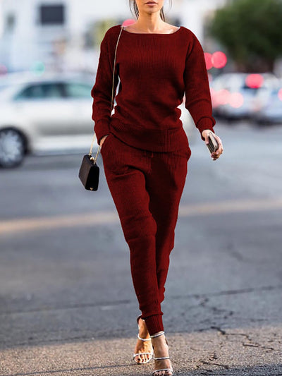 Color=Burgundy | Women'S Comfy Round Neck Track Suit-Burgundy 1
