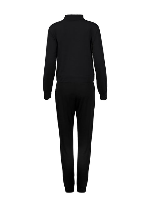 Color=Black | Classic Stand-Up Collar Two-Piece Track Suit For Women-Black 3