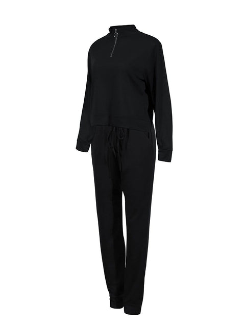 Color=Black | Classic Stand-Up Collar Two-Piece Track Suit For Women-Black 4
