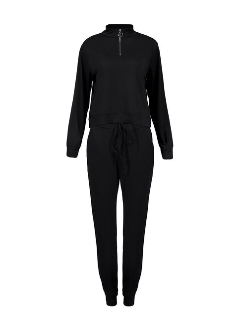 Color=Black | Classic Stand-Up Collar Two-Piece Track Suit For Women-Black 2