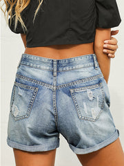 Color=Sky Blue | Summer Fashion Cool Denim Shorts With Ripped Designing-Sky Blue 2