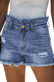 Sexy Summer High-rise Denim Shorts with Frill Designing