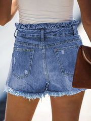 Color=Sky Blue | Sexy Summer High-Rise Denim Shorts With Frill Designing-Sky Blue 2