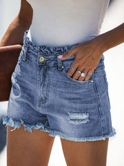 Color=Sky Blue | Sexy Summer High-Rise Denim Shorts With Frill Designing-Sky Blue 3