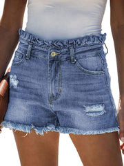Color=Sky Blue | Sexy Summer High-Rise Denim Shorts With Frill Designing-Sky Blue 1