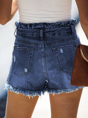 Color=Navy Blue | Sexy Summer High-Rise Denim Shorts With Frill Designing-Navy Blue 2