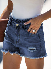 Color=Navy Blue | Sexy Summer High-Rise Denim Shorts With Frill Designing-Navy Blue 3