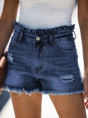 Color=Navy Blue | Sexy Summer High-Rise Denim Shorts With Frill Designing-Navy Blue 1