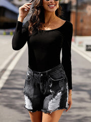 Color=Black | Cool Fashion Chewed Hem Denim Shorts For Women-Black 3