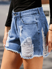 Color=Sky Blue | Cool Fashion Chewed Hem Denim Shorts For Women-Sky Blue 4