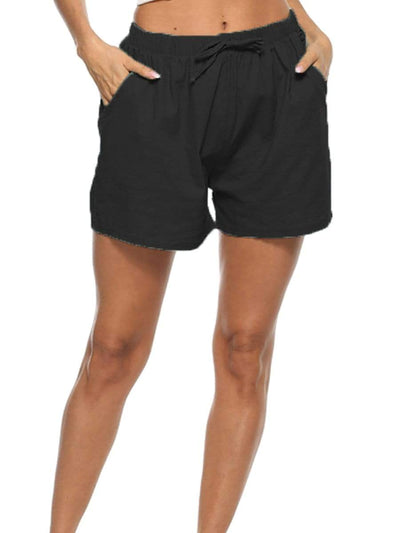 Color=Black | Comfy Women Fashion Solid Color Shorts With Drawstring-Black 1