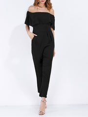 Sexy Black Off Shoulder Chiffon Jumpsuit