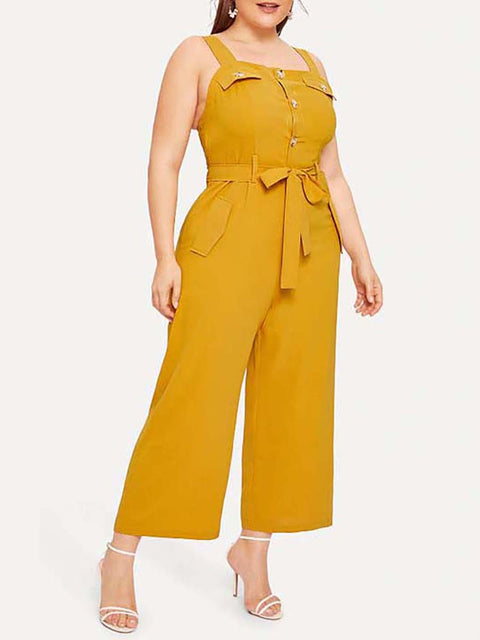 Classic Strappy Sleeveless Plus Size Long Jumpsuit with Belt