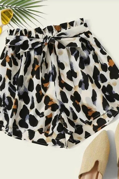 Color=Leopard | Printed Ruffled Shorts For Women With Belt-Leopard 1