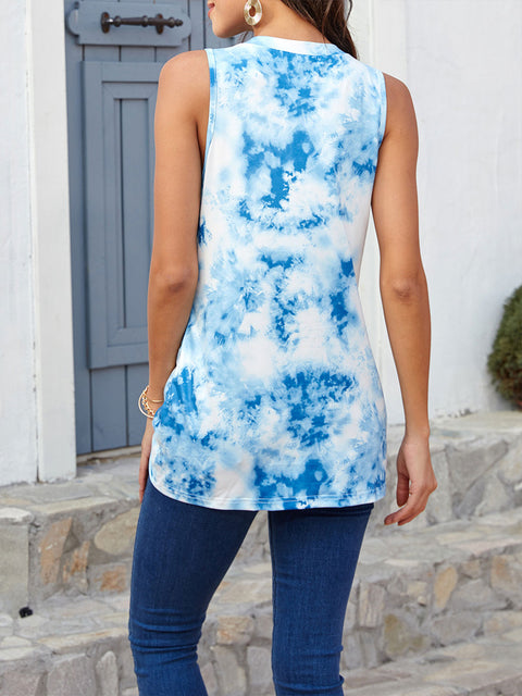 Color=Sky Blue | Loose Round Neck Sleeveless Tie-Dye T-Shirt Tops-Sky Blue 2
