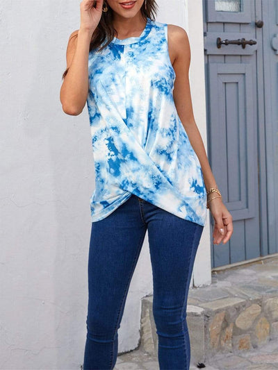 Color=Sky Blue | Loose Round Neck Sleeveless Tie-Dye T-Shirt Tops-Sky Blue 1