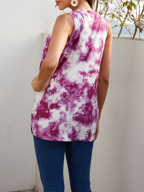 Color=Purple | Loose Round Neck Sleeveless Tie-Dye T-Shirt Tops-Purple 2