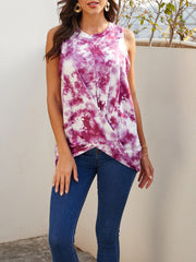 Color=Purple | Loose Round Neck Sleeveless Tie-Dye T-Shirt Tops-Purple 3