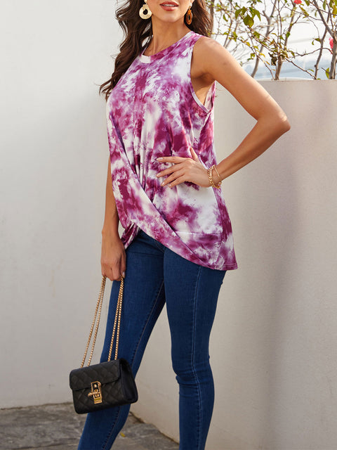 Color=Purple | Loose Round Neck Sleeveless Tie-Dye T-Shirt Tops-Purple 4