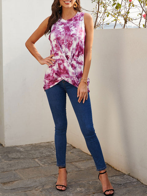 Color=Purple | Loose Round Neck Sleeveless Tie-Dye T-Shirt Tops-Purple 1