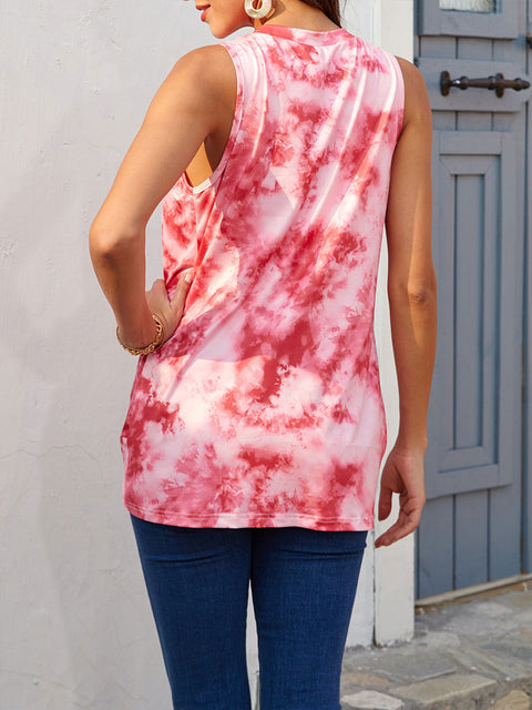 Color=Red | Loose Round Neck Sleeveless Tie-Dye T-Shirt Tops-Red 2