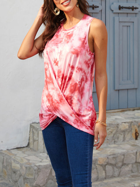 Color=Red | Loose Round Neck Sleeveless Tie-Dye T-Shirt Tops-Red 3