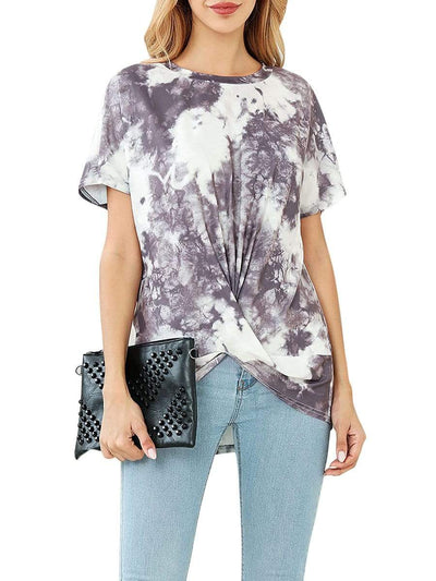 Color=Grey | Colorful Casual Tie-Dye Loungewear T-Shirts For Women-Grey 1