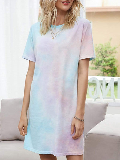 Color=Sky Blue | Fashion Round Neck Tie-Dye Casual Dresses For Women With Short Sleeve-Sky Blue 1