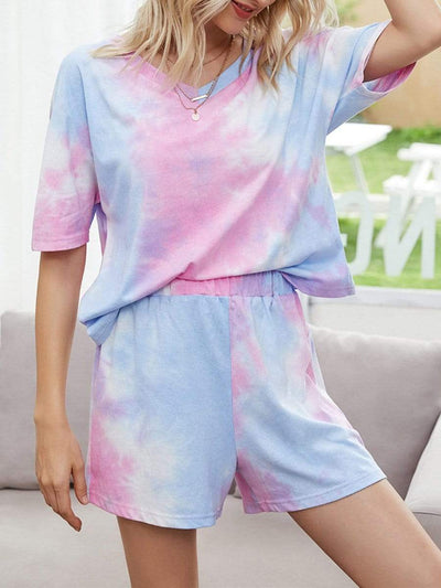 Color=Pink | Tie-Dye Two-Piece Pajama Tops & Shorts For Women-Pink 1