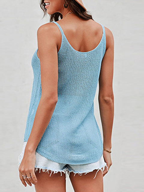 Color=Sky Blue | Knitted Camisole Hit Color Summer Round Neck Thin Shoulder Strap Tops For Women-Sky Blue 2