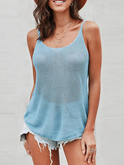 Color=Sky Blue | Knitted Camisole Hit Color Summer Round Neck Thin Shoulder Strap Tops For Women-Sky Blue 3